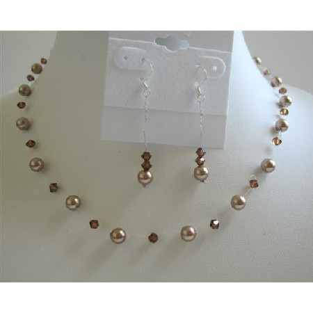 Bronze Pearls Wedding Jewelry Set with Swarovski Smoked Topaz Crystals