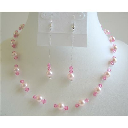 Primary image for Rose Pink Pearls with Rose Pink Crystals Bridesmaid Wedding Jewelry Se