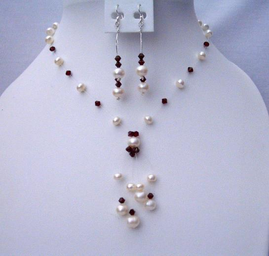 Primary image for Handmade Swarovski Dark Siam Red Crystals & Freshwater Pearls Jewelry
