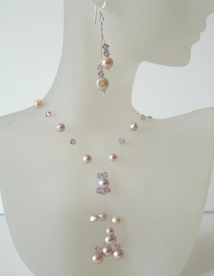 Primary image for Mauve & Pinkish Freshwater Pearls & Swarovski Crystals Necklace Set