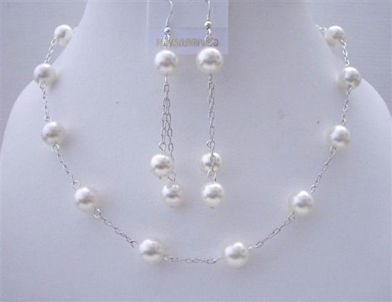 White Pearl Wedding Jewelry Swarovski Handcrafted Necklace Set