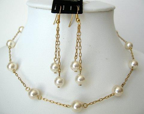 Primary image for Wedding Jewelry 22k Gold Plated Swarovski Cream Pearls Handcrafted Set