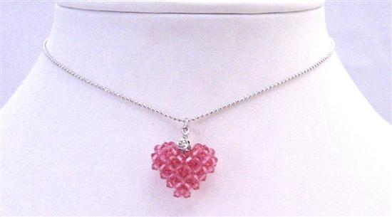 Primary image for Rose Dainty Delicate Puffy Heart Pendant Necklace