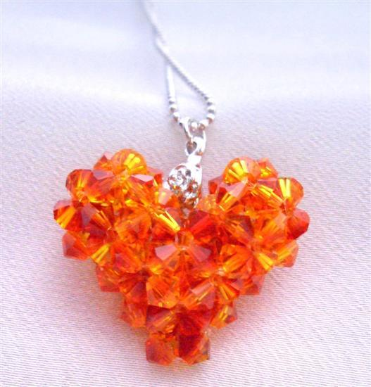 Primary image for Fire Opal Swarovski Crystals Autumn 3D Puffy Heart Pendant Necklace