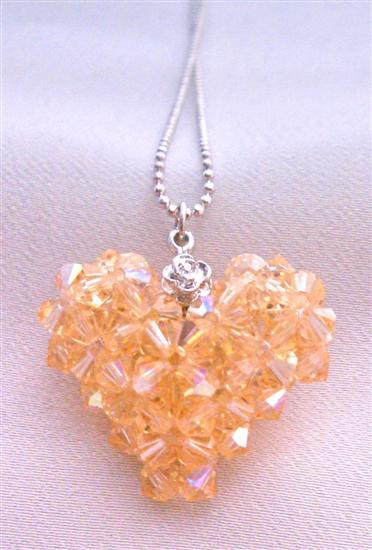 Peach Swarovski Crystals 3D Puffy Heart Handmade Pendant Necklace