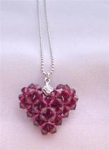 Handcrafted Ruby Swarovski Crystals 3D Puffy Heart Pendant Necklace - $26.38