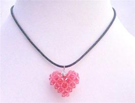Rose 3D Swarovski Crystals Puffy Heart Necklace Handmade Pendant - $26.38
