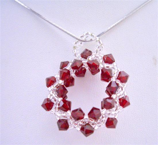 Primary image for Siam Red & Japanese Glass Beads Pendant w/ Rhodium Silver Chain