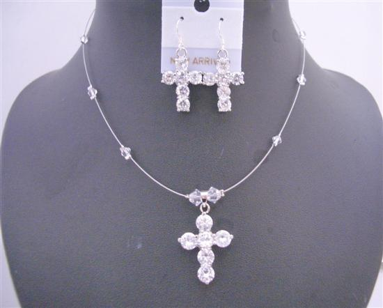 Primary image for Clear Crystals Cross Pendant Necklace Set Cross Earrings Jewelry Set