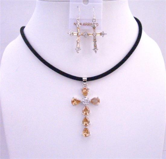 Golden Shadow Cross Pendant Necklace Set w/ Cross Earrings Jewelry Set