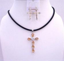 Golden Shadow Cross Pendant Necklace Set w/ Cross Earrings Jewelry Set - $28.98