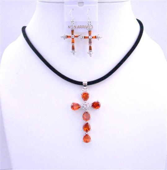 Primary image for Black Chord Necklace w/ cross Pendant Earrings Burnt Orange Crystals