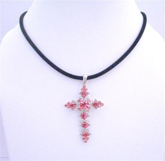 Pink Crystals Cross Pendant Necklace Velvet Black Chord Necklace