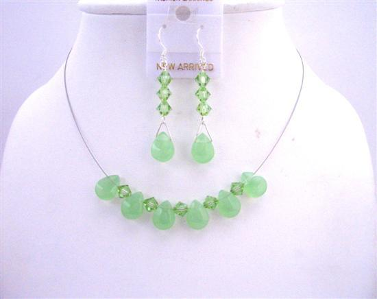 Peridot Quartz Glass Bead Swarovski Crystals Bridal Bridesmaid Jewelry