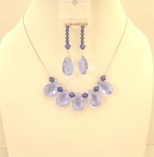 Purple Glass Teardrop Necklace Set Purple Velvet Crystals Bridesmaid