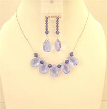 Purple Glass Teardrop Necklace Set Purple Velvet Crystals Bridesmaid - $26.38