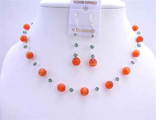 Primary image for Red Cat Eye Jewelry Set w/ Turmarine Crystals Swarovski Necklace Set