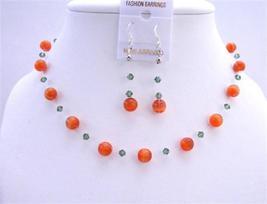 Red Cat Eye Jewelry Set w/ Turmarine Crystals Swarovski Necklace Set - $27.68