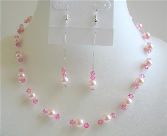 Primary image for Sexy Pink Pearls Crystals Jewelry Set Swarovski Pearl Crystal Necklace