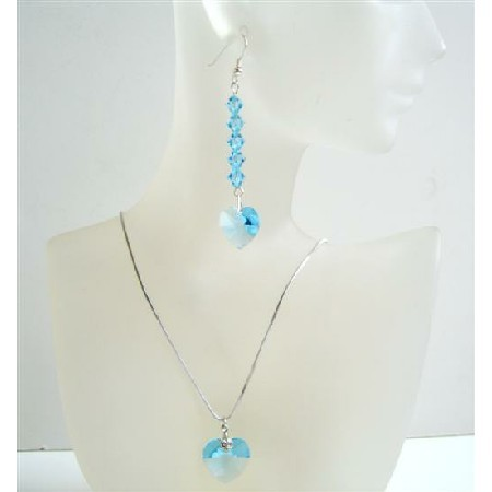 Primary image for Soothing Aquamarine Heart Jewelry Set Handmade Crystals Necklace Set