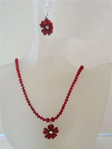 Romantic Siam Red Swarovski Crystal Necklace Set Flower Pendant Jewelr