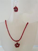 Romantic Siam Red Swarovski Crystal Necklace Set Flower Pendant Jewelr - $28.98
