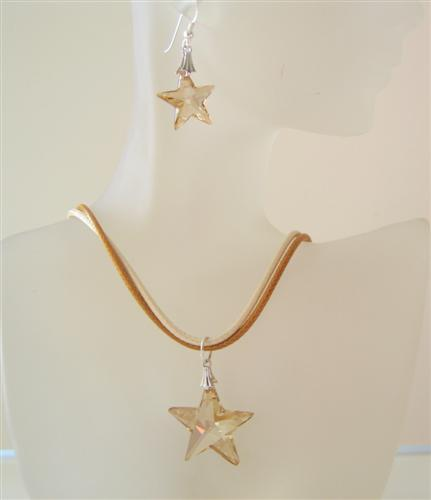 Golden Shadow Crystals Star Pendant Swarovski Earrings Jewelry Set