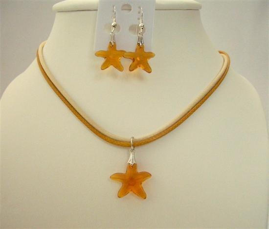 Primary image for Topaz Swarovski Crystals Star Fish Pendant Jewelry Pendant & Earrings