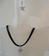 Opal Crystals Jewelry Black chord White Flower Pendant Necklace Set - $21.83