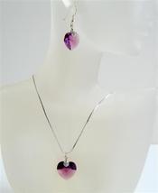 Amethyst Xilion Heart Pendant Swarovski Crystals Heart Jewelry Set - $17.28