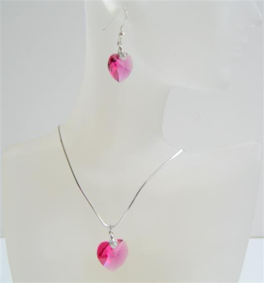 Cool Rose Pink Swarovski Crystals Valentine Heart Pendant & Earrings