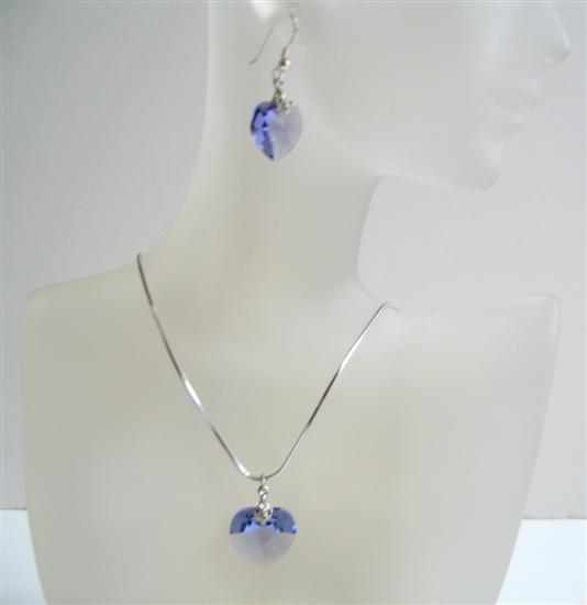 Primary image for Heart Jewelry Set Dark Sapphire Crystals 18mm Swarovski Sapphire Heart