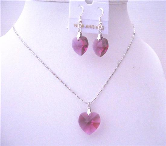 Fuchsia Valentine Heart Crystals Necklace & Earrings Set