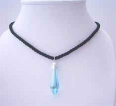 Cylindrical Pendant Swarovski Aquamarine Crystals Black Chord Necklace - $21.18