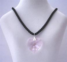 Rose Crystals Heart Pendant Black Chord Necklace 28mm Swarovski Pink - $21.18