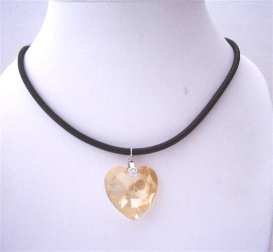 Swarovski Golden Shadow Crystals Heart 22mm Pendant Chord Necklace
