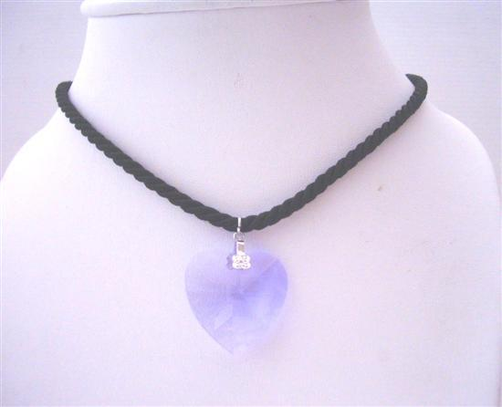 Primary image for Swarovski Light Sapphire Heart 28mm Pendant Black Chord Necklace