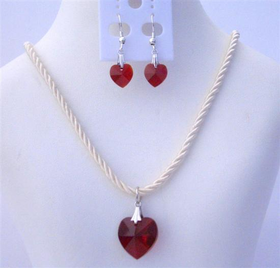 Primary image for Crystals Heart Necklace Set of Swarovski Siam Red Heart 18mm Crystals