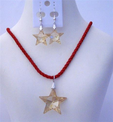 Swarovski Golden Shadow Crystal 20mm Faceted Star Pendant Necklace Set