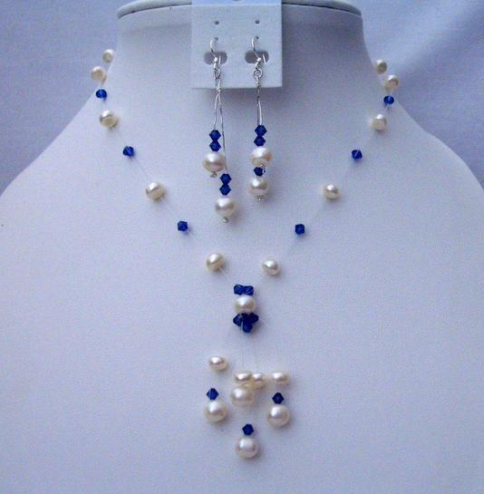 Primary image for Freshwater Pearls Tassel Jewelry Swarovski Sapphire Crystals Necklace