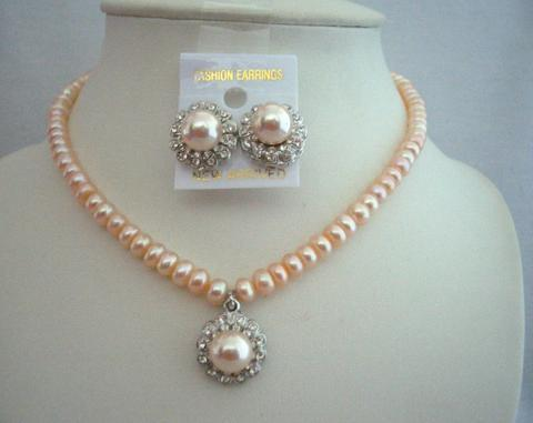 Primary image for Handcrafted Custom Jewelry Potato Freshwater Pearls Peach Necklace Set