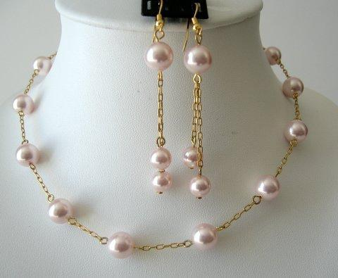 Rosaline Swarovski Pearls Necklace Set Chain 22k Gold Plated