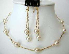 22k Gold Plated Swarovski Cream Pearls Handcrafted Necklace Set - $34.18