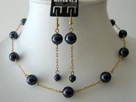 Necklace Set Swarovski Darkest Purple Pearls w/ Toggle Clasp - $34.18