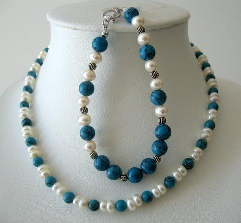 Primary image for Necklace & Bracelet Turquoise Bead w/ Potato Shaped Freshwater Pearls