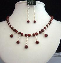 Simulated Red Pearls Swarovski Cream Rose Pearls Necklace Set - $25.10