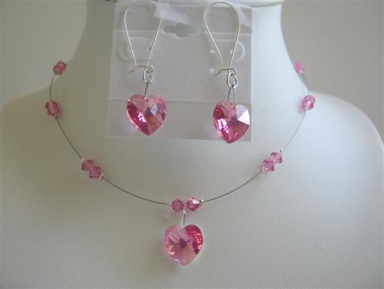 Rose Crystals Heart Swarovski Crystals Pendant Earrings Necklace Set