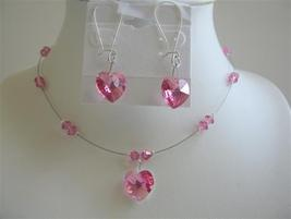 Rose Crystals Heart Swarovski Crystals Pendant Earrings Necklace Set - $32.88