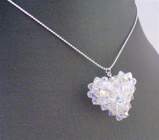 Primary image for Handmade AB Swarovski Puffy Heart Pendant Necklace Swarovski Crystals