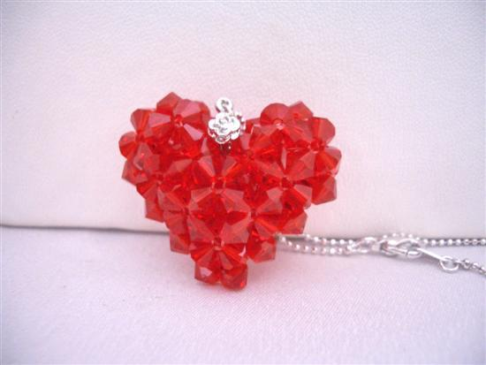 Primary image for Passion Jewelry Lite Siam Red Puffy Heart Swarovski Crytal Necklace